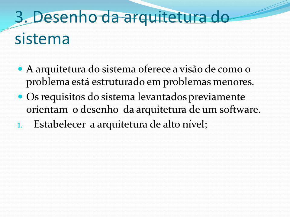 3. Desenho da arquitetura do sistema  A arquitetura do sistema oferece a visão de como o problema está estruturado em problemas menores.  Os requisi