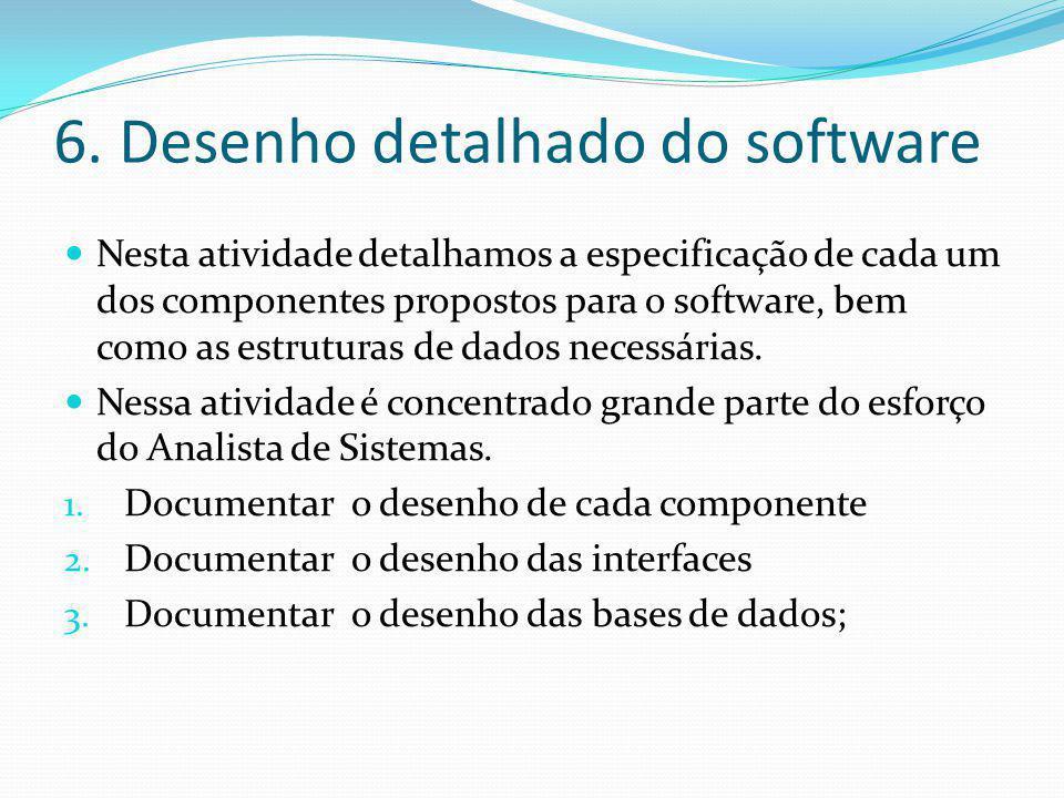 6. Desenho detalhado do software  Nesta atividade detalhamos a especificação de cada um dos componentes propostos para o software, bem como as estrut