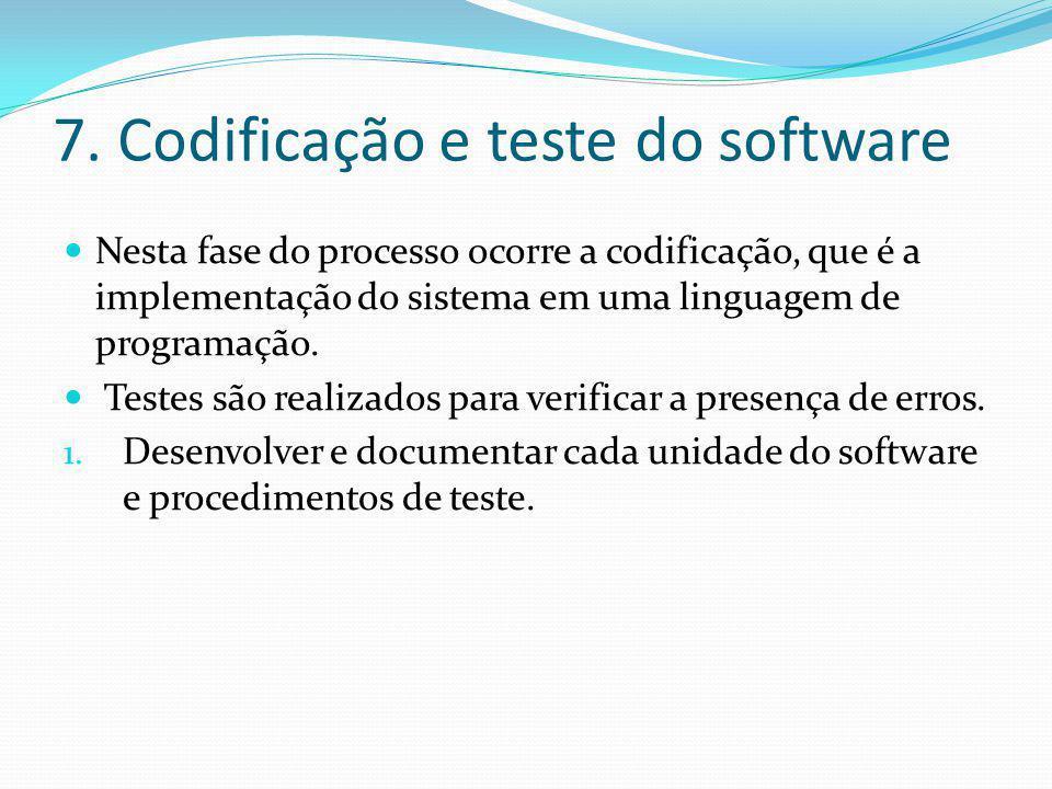 7. Codificação e teste do software  Nesta fase do processo ocorre a codificação, que é a implementação do sistema em uma linguagem de programação. 