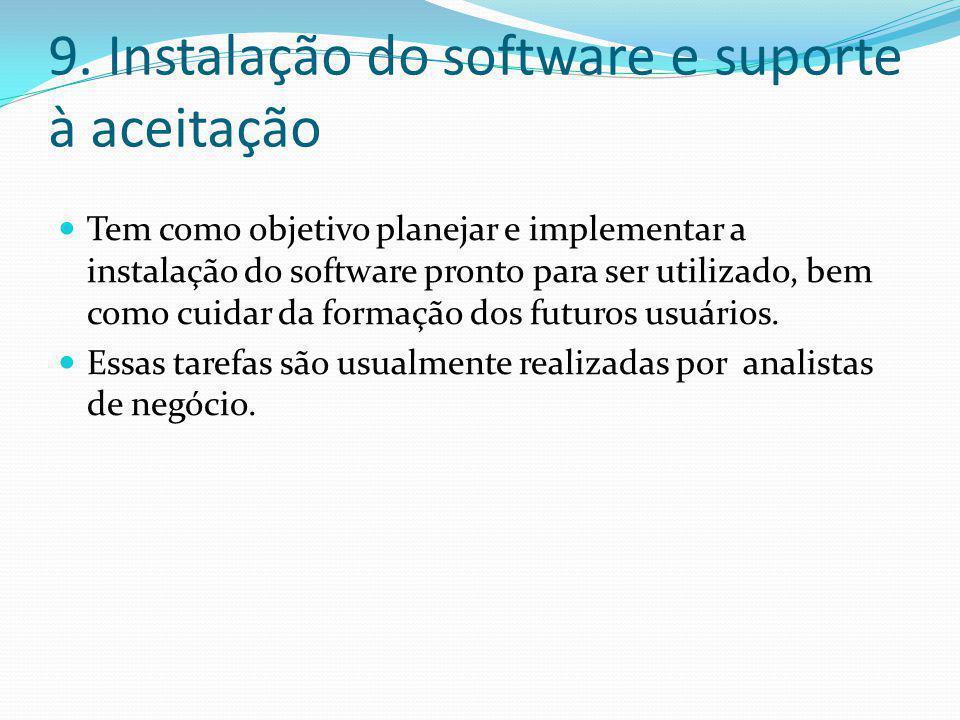 9. Instalação do software e suporte à aceitação  Tem como objetivo planejar e implementar a instalação do software pronto para ser utilizado, bem com