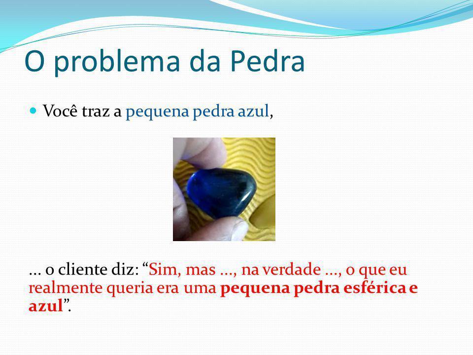 """O problema da Pedra  Você traz a pequena pedra azul,... o cliente diz: """"Sim, mas..., na verdade..., o que eu realmente queria era uma pequena pedra e"""