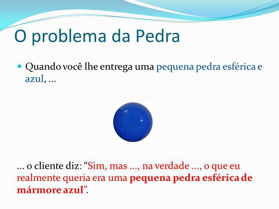 """O problema da Pedra  Quando você lhe entrega uma pequena pedra esférica e azul,...... o cliente diz: """"Sim, mas..., na verdade..., o que eu realmente"""