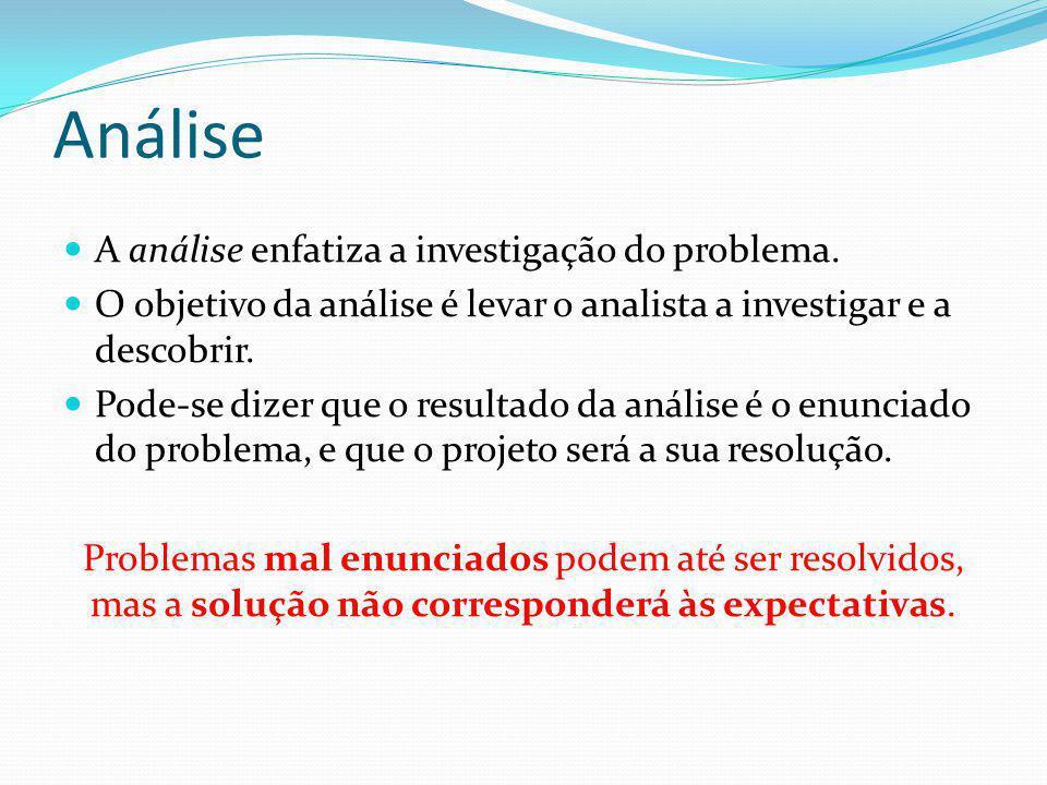 Análise  A análise enfatiza a investigação do problema.  O objetivo da análise é levar o analista a investigar e a descobrir.  Pode-se dizer que o