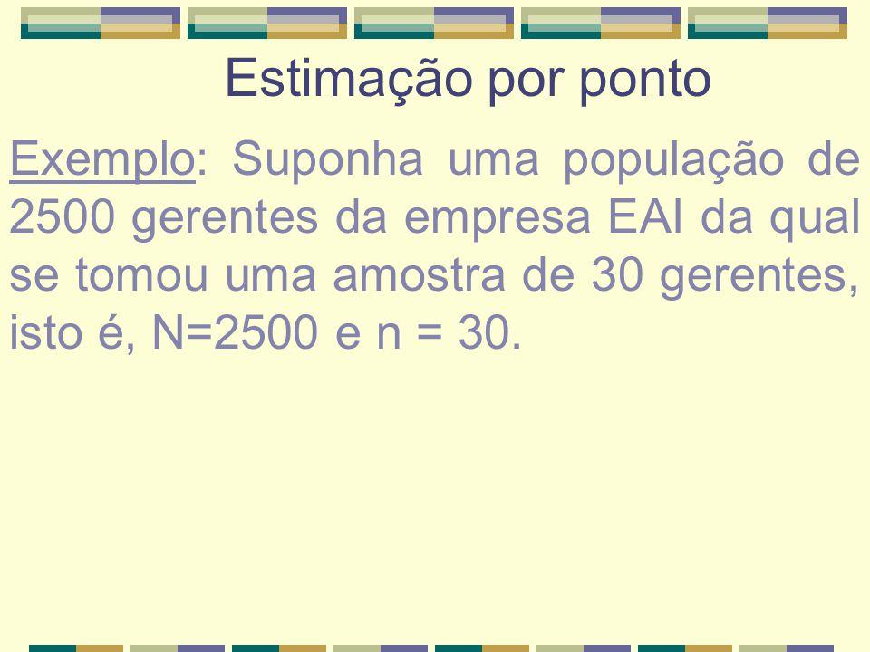 Estimação por ponto Exemplo: Suponha uma população de 2500 gerentes da empresa EAI da qual se tomou uma amostra de 30 gerentes, isto é, N=2500 e n = 3