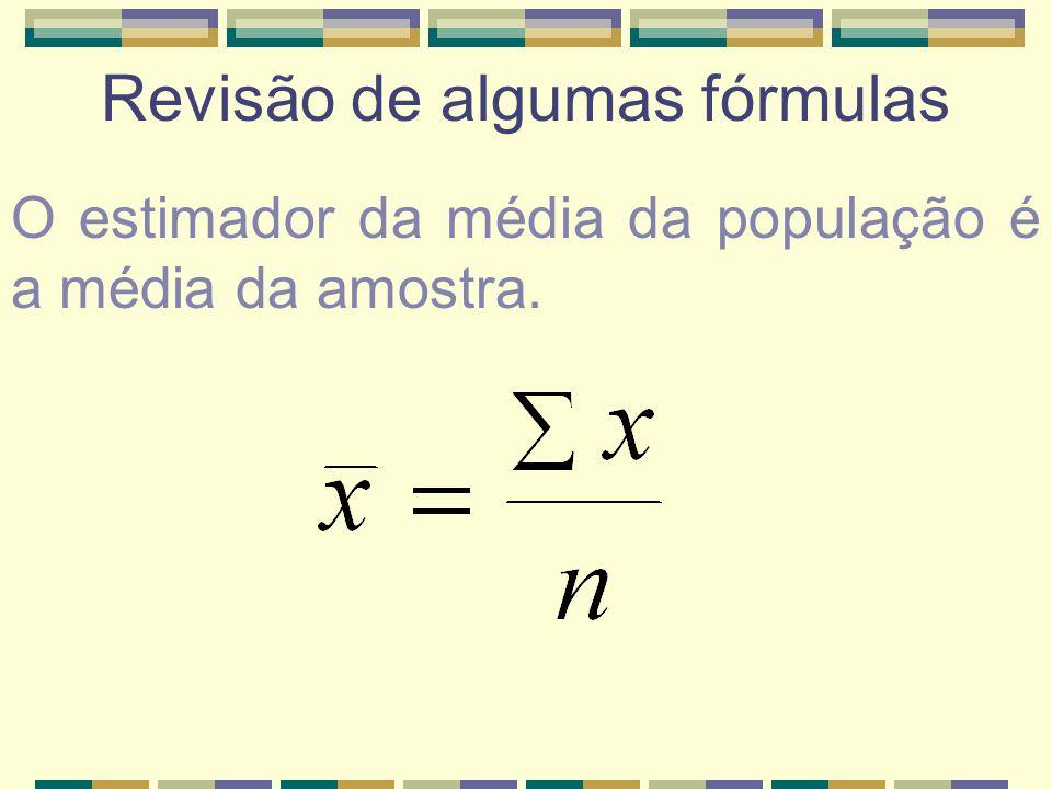 Revisão de algumas fórmulas O estimador da média da população é a média da amostra.
