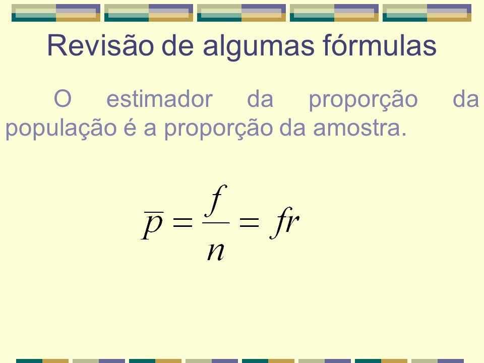 Revisão de algumas fórmulas O estimador da proporção da população é a proporção da amostra.