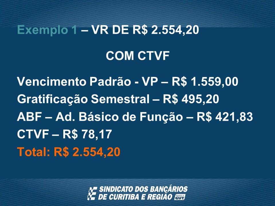 Exemplo 1 – VR DE R$ 2.554,20 COM CTVF Vencimento Padrão - VP – R$ 1.559,00 Gratificação Semestral – R$ 495,20 ABF – Ad.