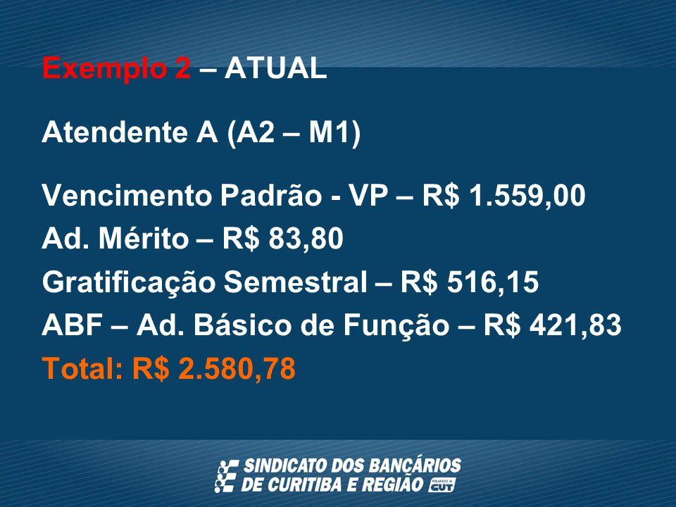 Exemplo 2 – ATUAL Atendente A (A2 – M1) Vencimento Padrão - VP – R$ 1.559,00 Ad.