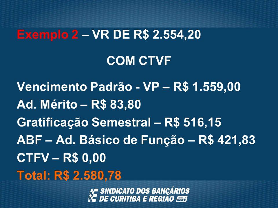 Exemplo 2 – VR DE R$ 2.554,20 COM CTVF Vencimento Padrão - VP – R$ 1.559,00 Ad.