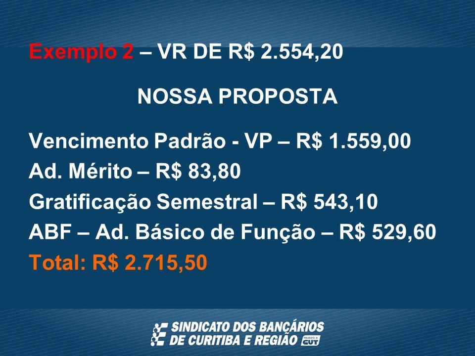 Exemplo 2 – VR DE R$ 2.554,20 NOSSA PROPOSTA Vencimento Padrão - VP – R$ 1.559,00 Ad.