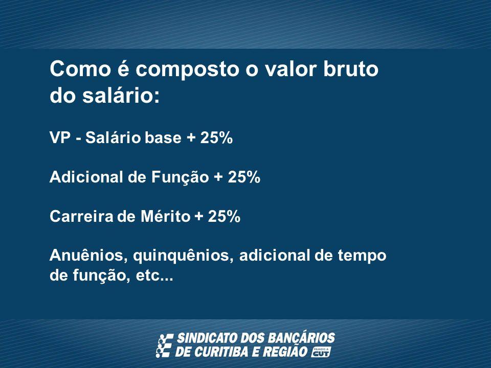 Como é composto o valor bruto do salário: VP - Salário base + 25% Adicional de Função + 25% Carreira de Mérito + 25% Anuênios, quinquênios, adicional de tempo de função, etc...