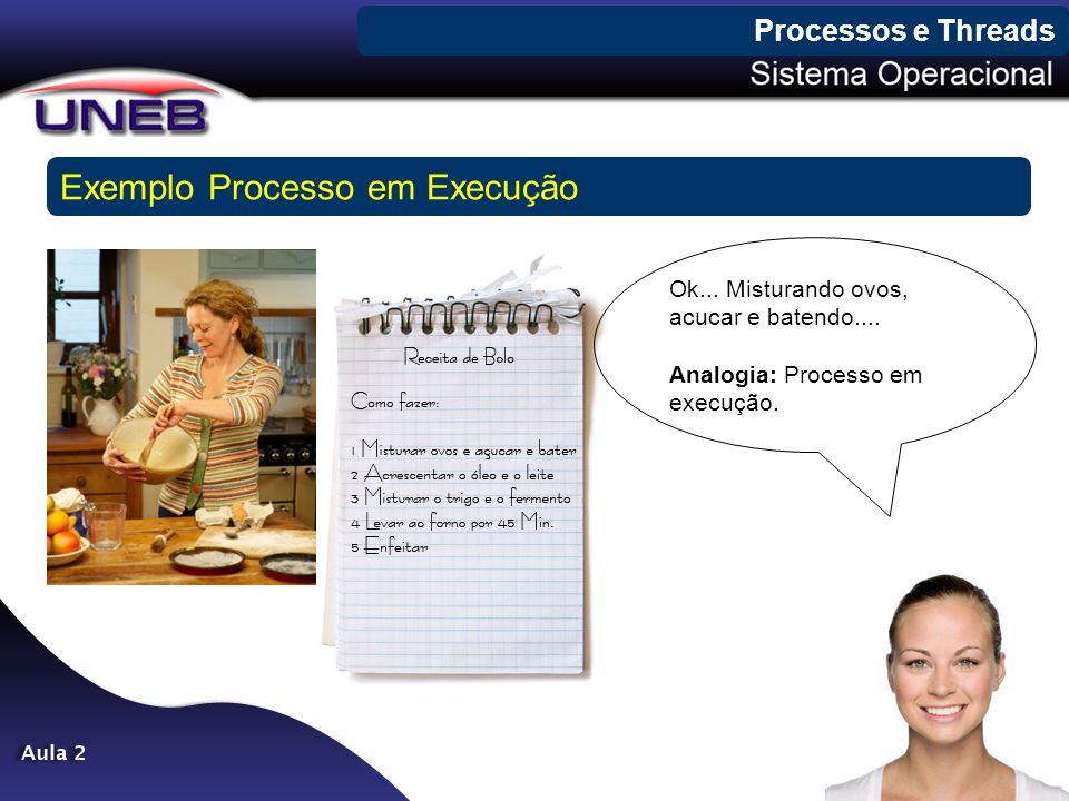 Processos e Threads Exemplo Processo em Execução Ok... Misturando ovos, acucar e batendo.... Analogia: Processo em execução.