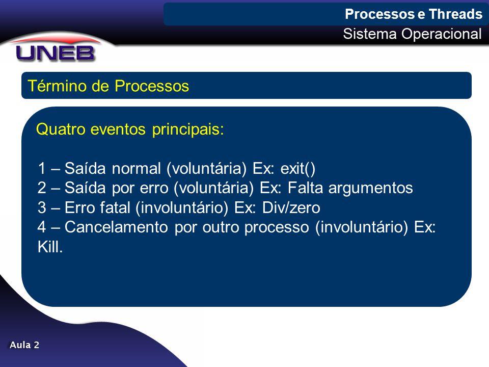 Processos e Threads Término de Processos Quatro eventos principais: 1 – Saída normal (voluntária) Ex: exit() 2 – Saída por erro (voluntária) Ex: Falta