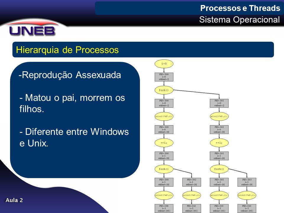 Processos e Threads Hierarquia de Processos -Reprodução Assexuada - Matou o pai, morrem os filhos. - Diferente entre Windows e Unix.