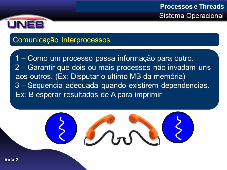 Processos e Threads Comunicação Interprocessos 1 – Como um processo passa informação para outro. 2 – Garantir que dois ou mais processos não invadam u