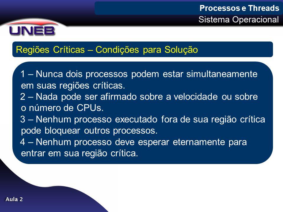 Processos e Threads Regiões Críticas – Condições para Solução 1 – Nunca dois processos podem estar simultaneamente em suas regiões críticas. 2 – Nada
