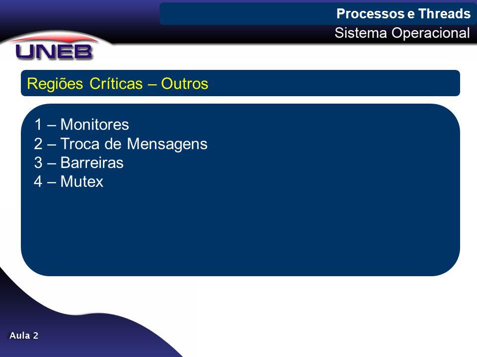 Processos e Threads Regiões Críticas – Outros 1 – Monitores 2 – Troca de Mensagens 3 – Barreiras 4 – Mutex