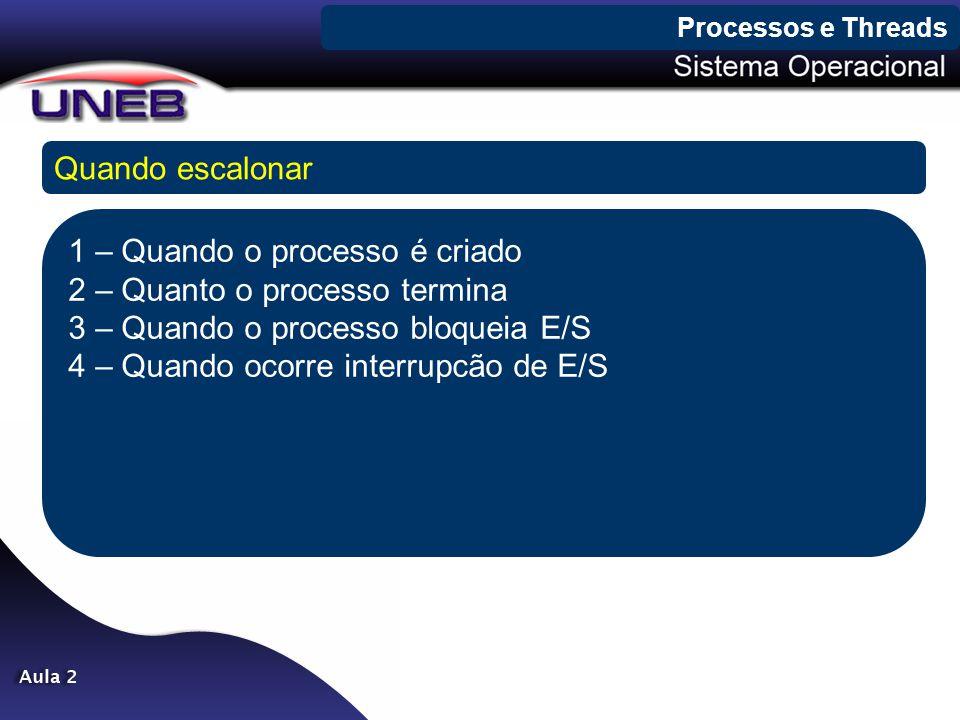 Processos e Threads Quando escalonar 1 – Quando o processo é criado 2 – Quanto o processo termina 3 – Quando o processo bloqueia E/S 4 – Quando ocorre