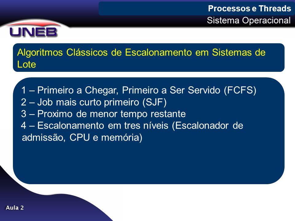 Processos e Threads Algoritmos Clássicos de Escalonamento em Sistemas de Lote 1 – Primeiro a Chegar, Primeiro a Ser Servido (FCFS) 2 – Job mais curto
