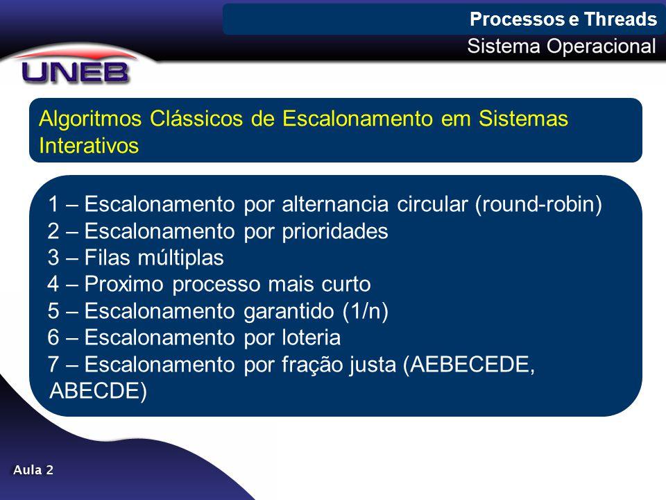 Processos e Threads Algoritmos Clássicos de Escalonamento em Sistemas Interativos 1 – Escalonamento por alternancia circular (round-robin) 2 – Escalon