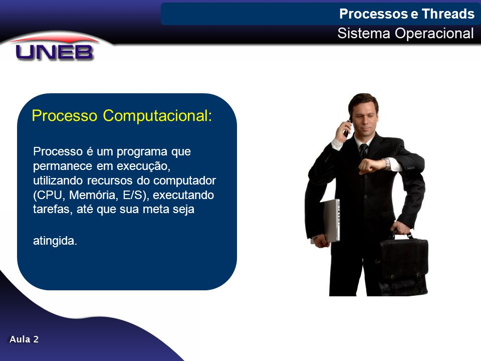 Processos e Threads Processo Computacional: Processo é um programa que permanece em execução, utilizando recursos do computador (CPU, Memória, E/S), e