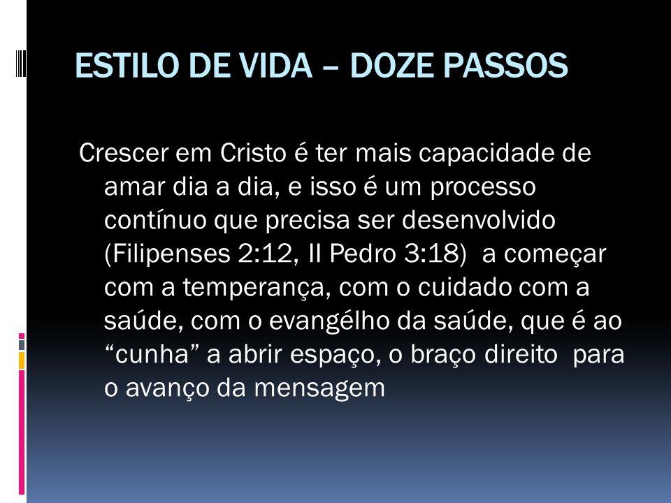ESTILO DE VIDA – DOZE PASSOS Crescer em Cristo é ter mais capacidade de amar dia a dia, e isso é um processo contínuo que precisa ser desenvolvido (Fi