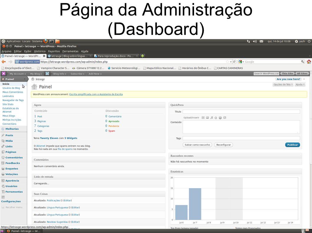 Página da Administração (Dashboard)