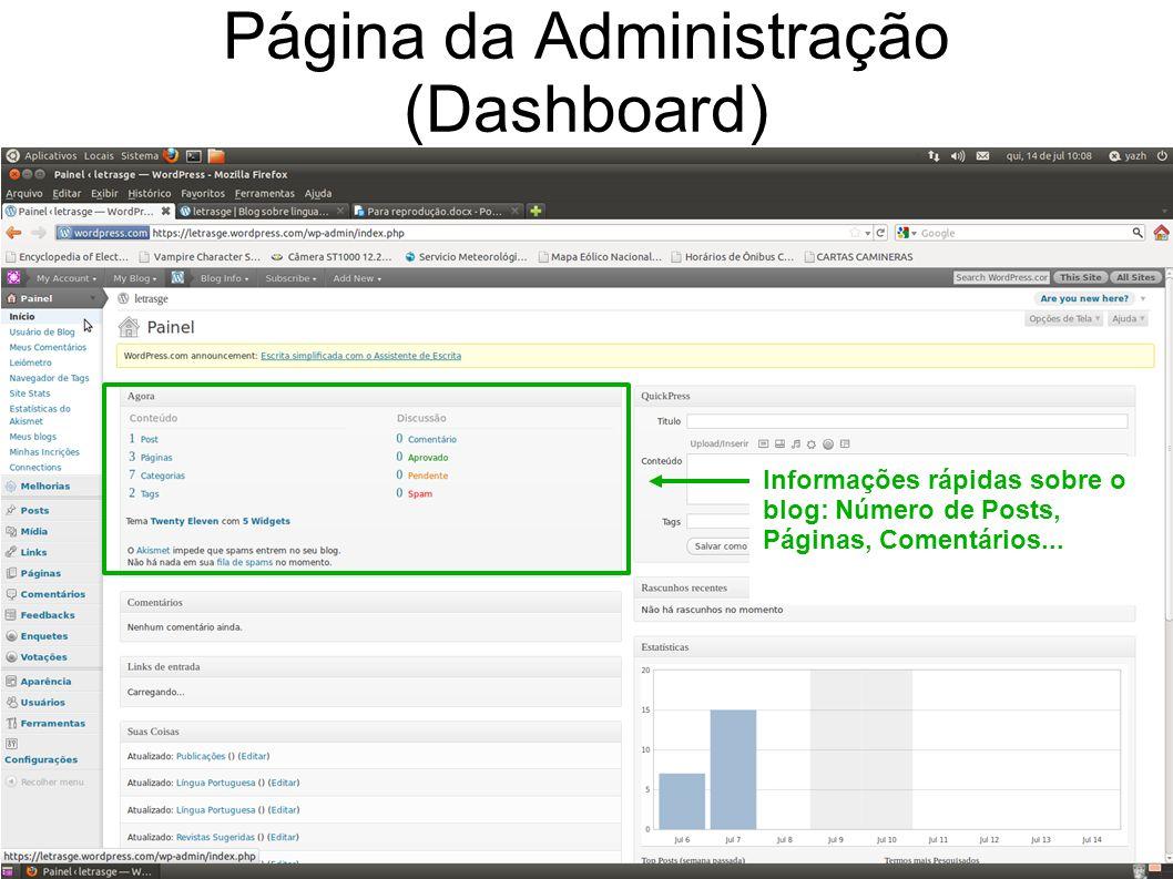 Informações rápidas sobre o blog: Número de Posts, Páginas, Comentários...