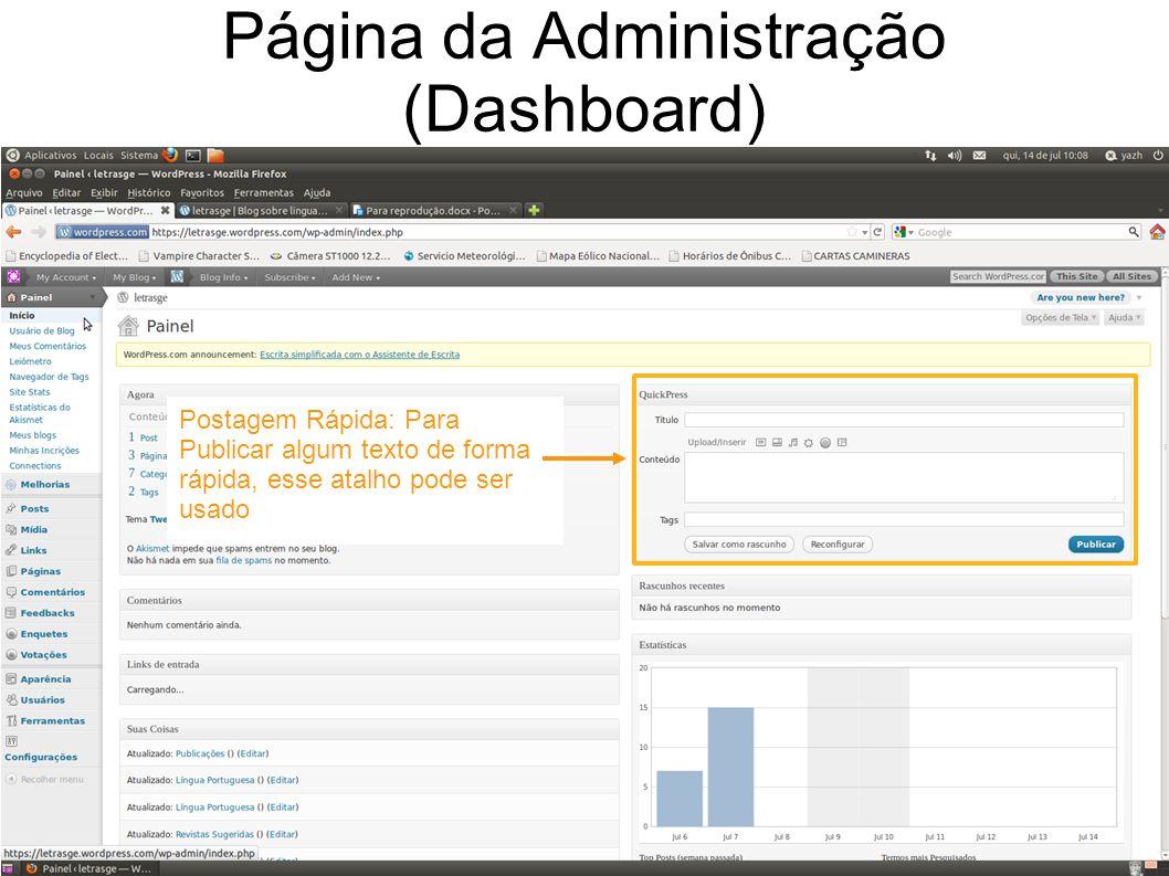 Página da Administração (Dashboard) Postagem Rápida: Para Publicar algum texto de forma rápida, esse atalho pode ser usado