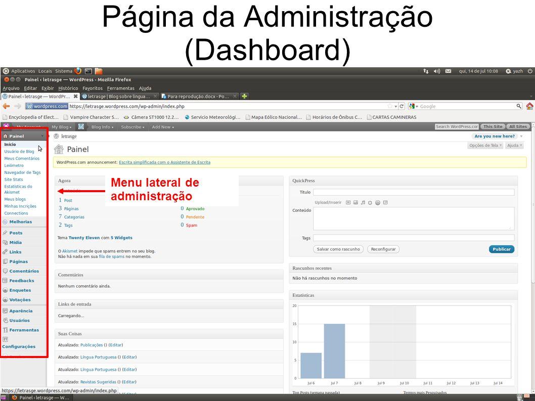 Página da Administração (Dashboard) Menu lateral de administração