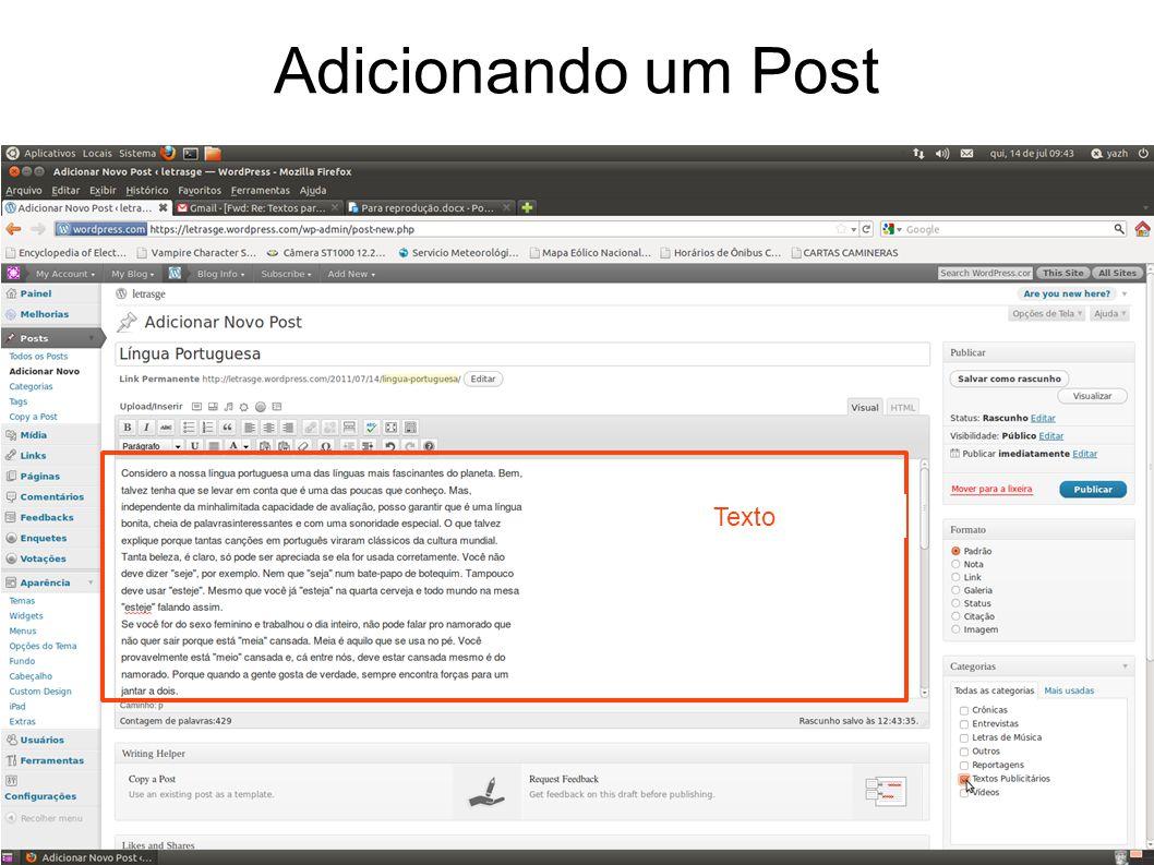 Adicionando um Post Texto