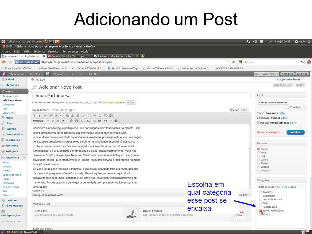 Adicionando um Post Escolha em qual categoria esse post se encaixa