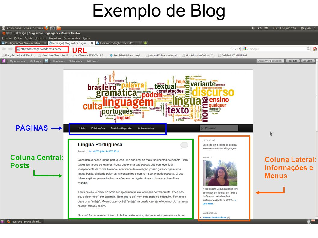 Página da Administração (Dashboard) Gráficos com o número de visualizações do blog por dia