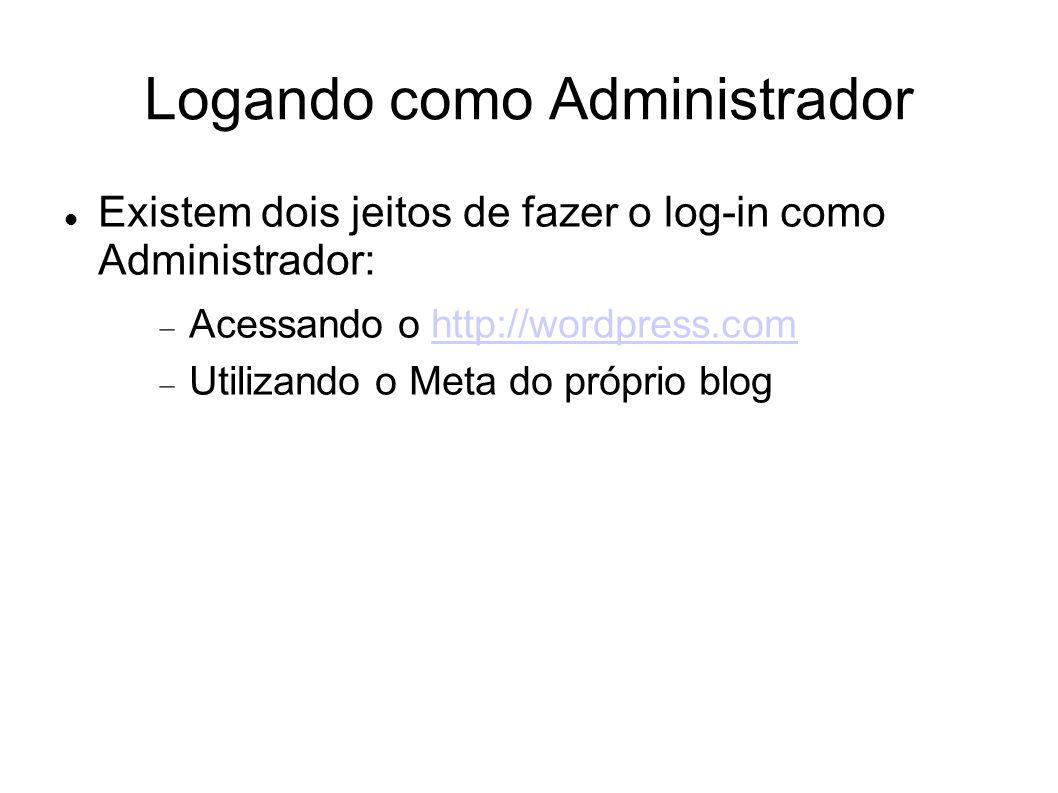 Logando como Administrador  Existem dois jeitos de fazer o log-in como Administrador:  Acessando o http://wordpress.comhttp://wordpress.com  Utilizando o Meta do próprio blog