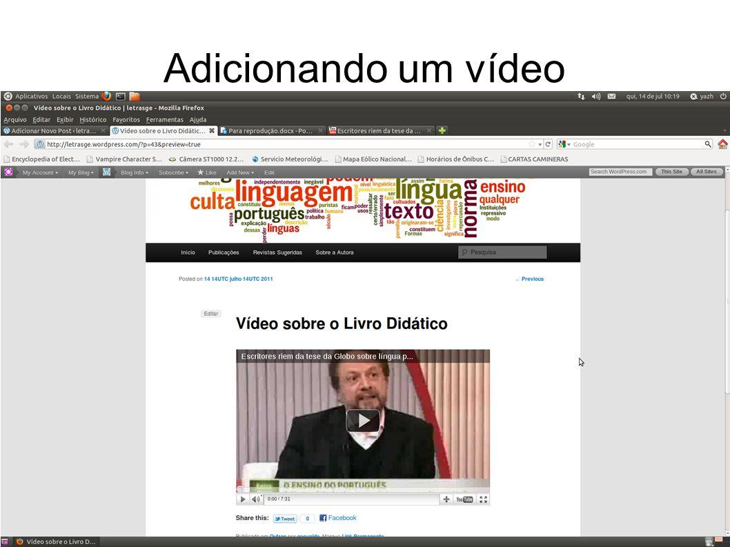 Adicionando um vídeo