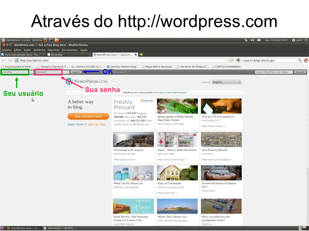 Configurações Gerais Aqui você pode modificar o título do blog, o e-mail de cadastro, o modo de exibição da data e hora, o idioma, etc.