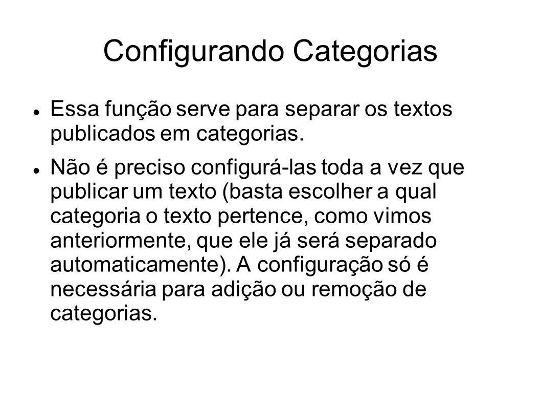  Essa função serve para separar os textos publicados em categorias.