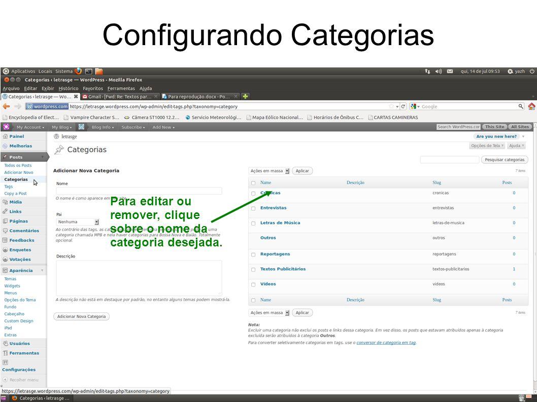 Configurando Categorias Para editar ou remover, clique sobre o nome da categoria desejada.