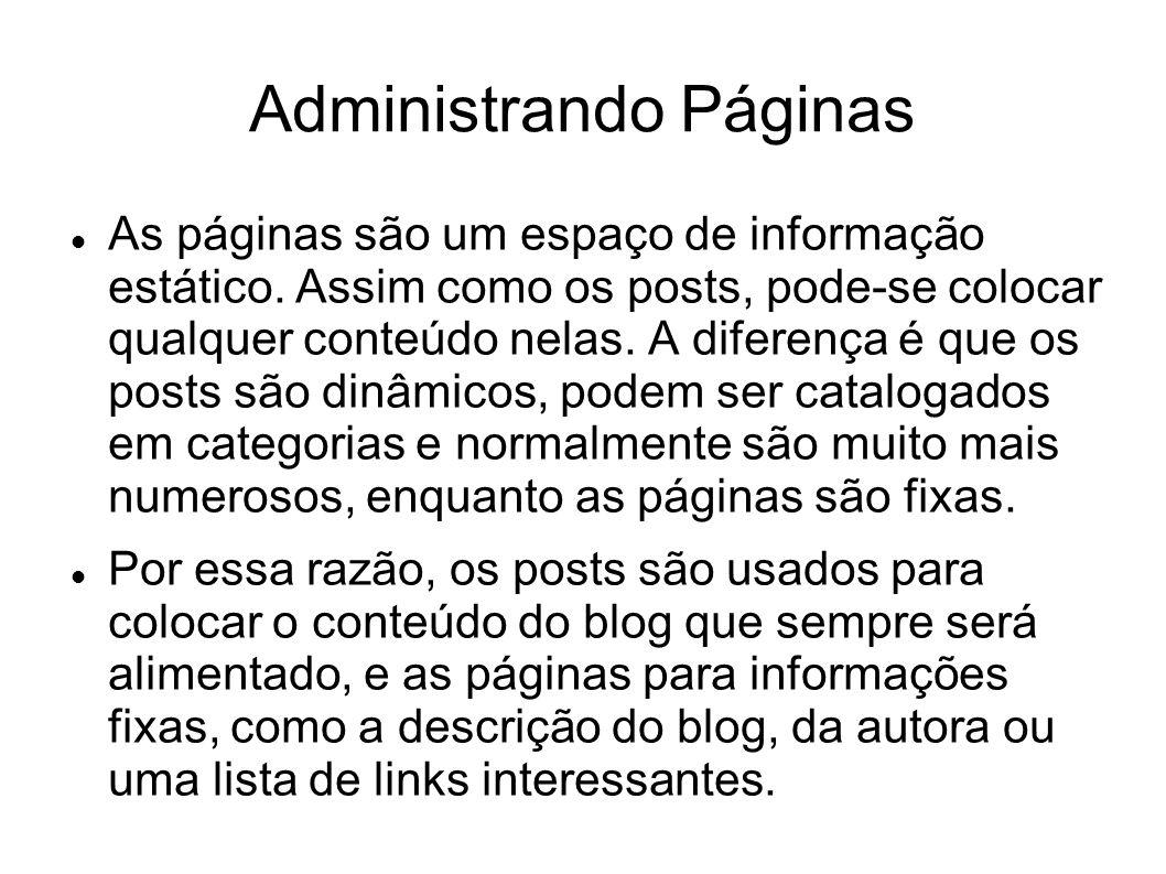  As páginas são um espaço de informação estático.