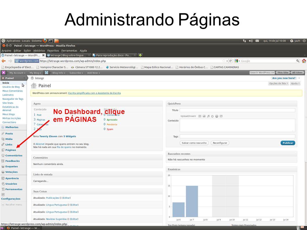 Administrando Páginas No Dashboard, clique em PÁGINAS