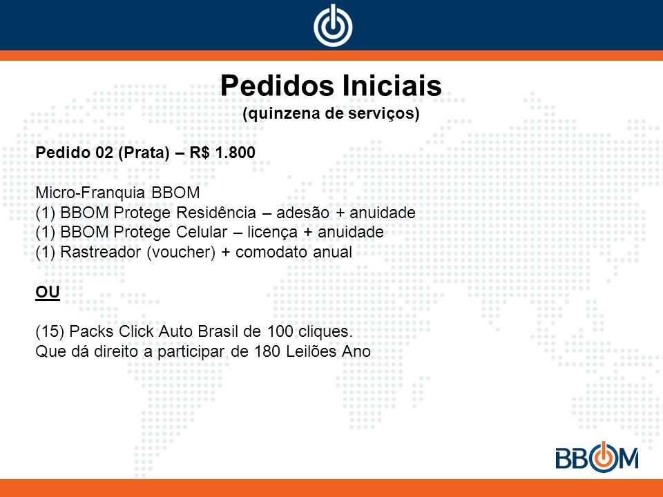 Pedidos Iniciais (quinzena de serviços) Pedido 02 (Prata) – R$ 1.800 Micro-Franquia BBOM (1) BBOM Protege Residência – adesão + anuidade (1) BBOM Protege Celular – licença + anuidade (1) Rastreador (voucher) + comodato anual OU (15) Packs Click Auto Brasil de 100 cliques.