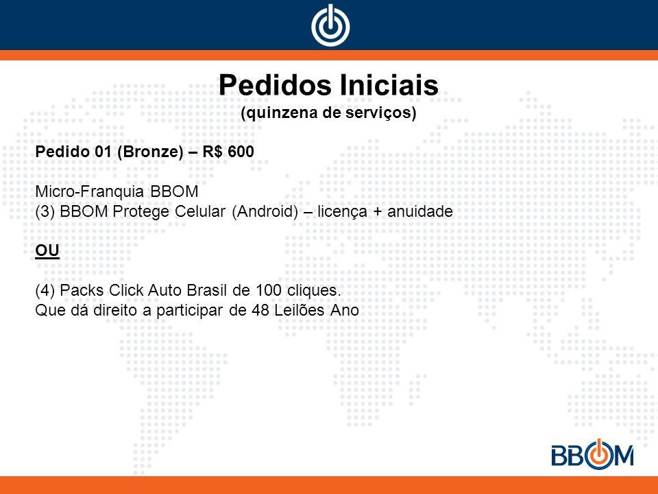 Pedidos Iniciais (quinzena de serviços) Pedido 01 (Bronze) – R$ 600 Micro-Franquia BBOM (3) BBOM Protege Celular (Android) – licença + anuidade OU (4) Packs Click Auto Brasil de 100 cliques.