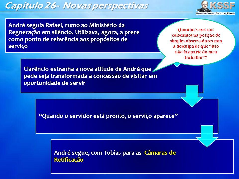 Capítulo 26- Novas perspectivas André seguia Rafael, rumo ao Ministério da Regneração em silêncio. Utilizava, agora, a prece como ponto de referência