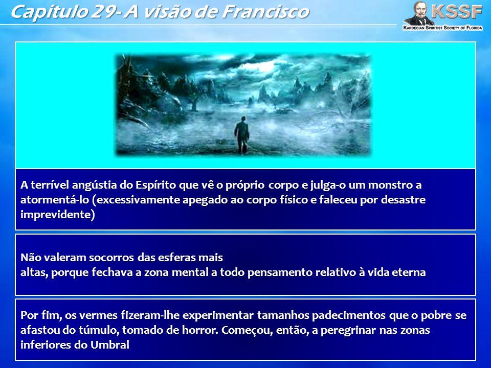 Capítulo 29- A visão de Francisco A terrível angústia do Espírito que vê o próprio corpo e julga-o um monstro a atormentá-lo (excessivamente apegado a