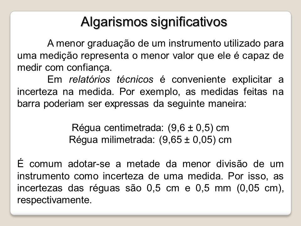Algarismos significativos A menor graduação de um instrumento utilizado para uma medição representa o menor valor que ele é capaz de medir com confian