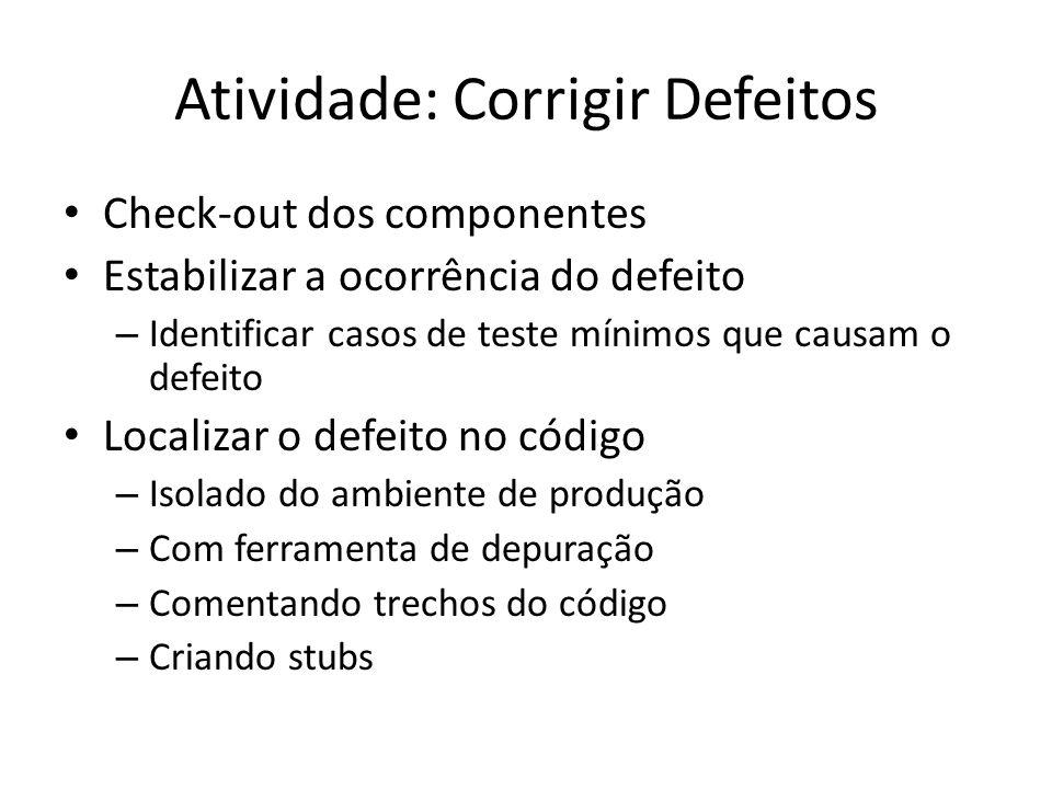 Atividade: Corrigir Defeitos • Check-out dos componentes • Estabilizar a ocorrência do defeito – Identificar casos de teste mínimos que causam o defei