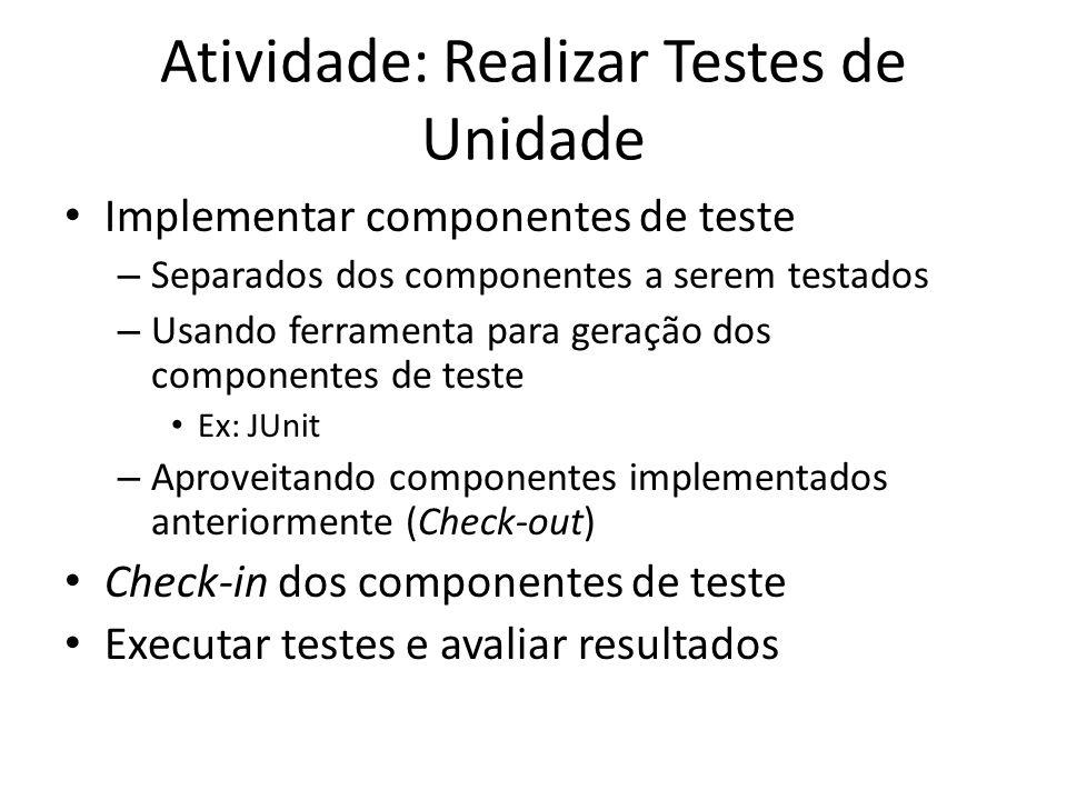Atividade: Realizar Testes de Unidade • Implementar componentes de teste – Separados dos componentes a serem testados – Usando ferramenta para geração dos componentes de teste • Ex: JUnit – Aproveitando componentes implementados anteriormente (Check-out) • Check-in dos componentes de teste • Executar testes e avaliar resultados