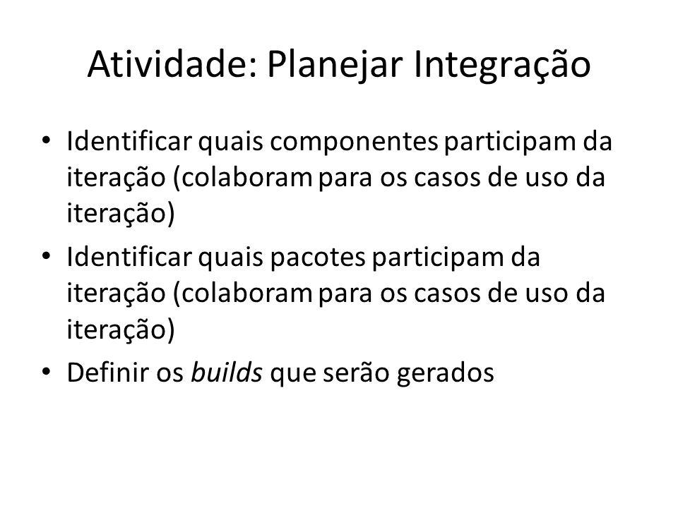 Atividade: Planejar Integração • Identificar quais componentes participam da iteração (colaboram para os casos de uso da iteração) • Identificar quais pacotes participam da iteração (colaboram para os casos de uso da iteração) • Definir os builds que serão gerados
