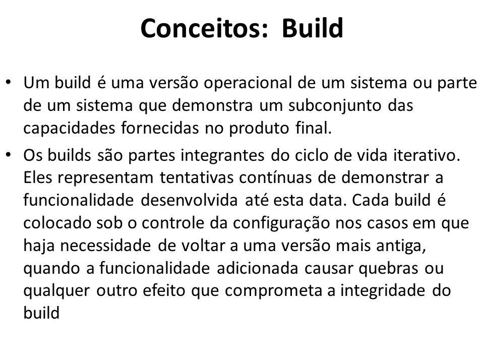 Conceitos: Build • Um build é uma versão operacional de um sistema ou parte de um sistema que demonstra um subconjunto das capacidades fornecidas no produto final.