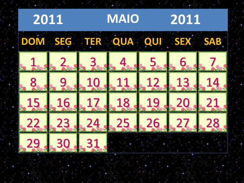 MAIO 2011 DOMSEGTERQUAQUISEXSAB 1234567 891011121314 15161718192021 22232425262728 293031